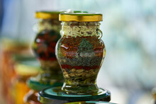 Decorative Jars With Flower Mo...