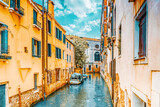 Fototapeta Uliczki - Views of the most beautiful channels of Venice, narrow streets, houses.