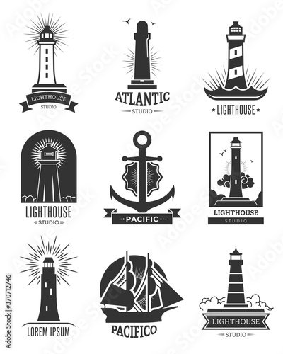 Canvas Nautical shipping logo set