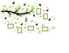 Illustration;  Family Tree Photo Frame Birdcage Butterfly Wall Stickers Decor