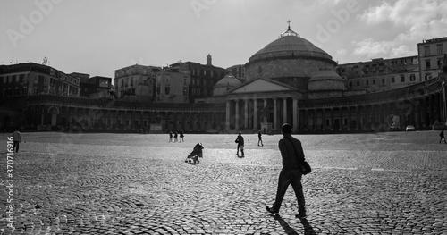 Piazza del plebiscito a Napoli in bianco e nero Canvas Print