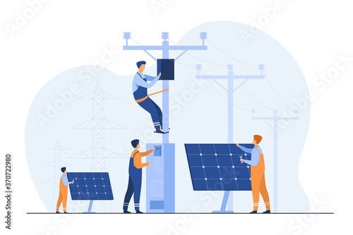 Slika na platnu Solar power plant maintenance