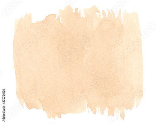 Beige watercolor, background with clear borders and natural splashes Fotobehang