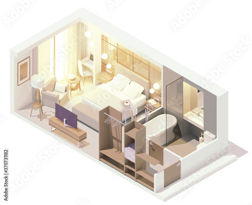 Vector isometric hotel suite interior cross-section Wallpaper Mural