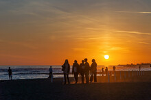 Sunset On The Beach In Ostia Lido, Rome.