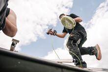 Elektrikmontage Auf Einem Dach