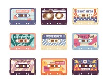 Set Of Compact Analog Audio Cassette From 80s, 90s. Different Retro Audiocassette With Old School Music Mixtape. Flat Vector Cartoon Illustration Isolated On White Background