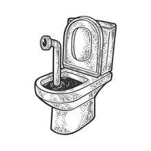 Periscope In The Toilet Sketch Engraving Vector Illustration. T-shirt Apparel Print Design. Scratch Board Imitation. Black And White Hand Drawn Image.