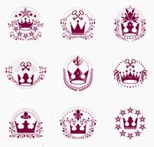 Royal Crowns Emblems Set. Heraldic Vector Design Elements Collection. Retro Style Label, Heraldry Logo.