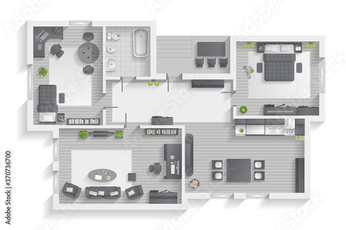 Obraz Apartment floor plan. (top view) Furnished flat. (view from above) Interior architecture. Living room, bedroom, kitchen, bathroom, office.  - fototapety do salonu