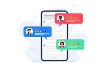 Feedback Customers Review On A Phone Screen. People Evaluating Product, Service. Website Rating Feedback Concept. Trendy Vector Flat Illustration.
