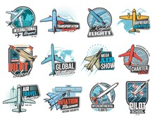 Aviation And Air Flight Icons, Airplane Pilot School And Aircraft Museum, Vector Signs. Air Flight Aviators Academy, Global Airlines And Flights Travel, Air Transportation Freight Delivery Service