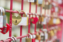 Love Locks On The Bridge With Heart Shaped Gold Lock In The Front.