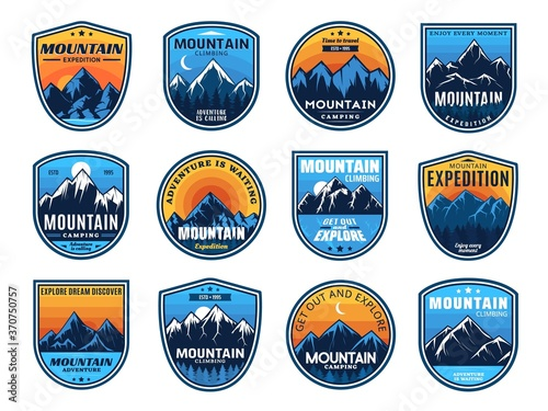 Mountain climbing, camping travel icons, tourism sport and outdoor travel, vector Fototapet