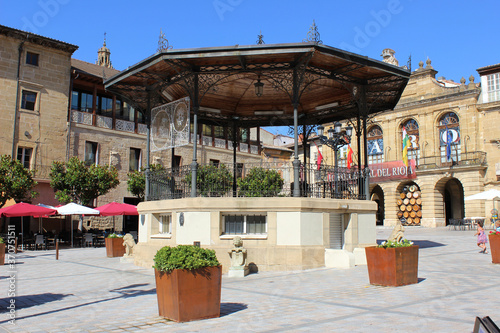 Main square of Haro of with a music kiosk, village in La Rioja (Spain)