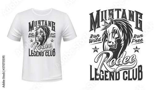 фотография Horse mascot t-shirt print vector template