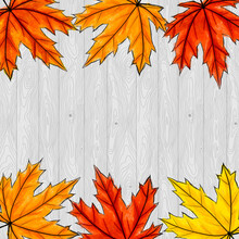 Copy Space Surrounded By Yellow, Orange And Red Maple Leaves. Frame Of Fall Auutumn Foliage On Gray Wooden Background. Square Composition For Social Networks Or Invitation, Postcards. Digital Art
