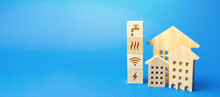 Residential Buildings And Blocks With Communal Services Symbols. Utilities Public Service. Price, Payment Methods, Subsidies Registration. Savings, Reduced Environmental Impact. Energy Saving