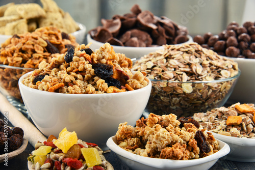 Obraz Composition with different sorts of breakfast cereal products - fototapety do salonu