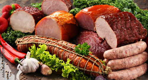 Fotografie, Obraz Variety of meat products including ham and sausages