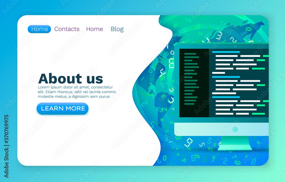 Fototapeta Programming code development, program software application, website banner. Vector
