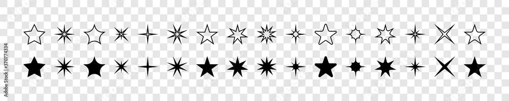 Fototapeta Stars. Star vector icons. Stars collection. Black stars, isolated. Star icons. Star in modern flat design. Vector illustration - obraz na płótnie