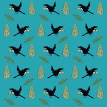 Wild Toucans Flying Birds Patt...