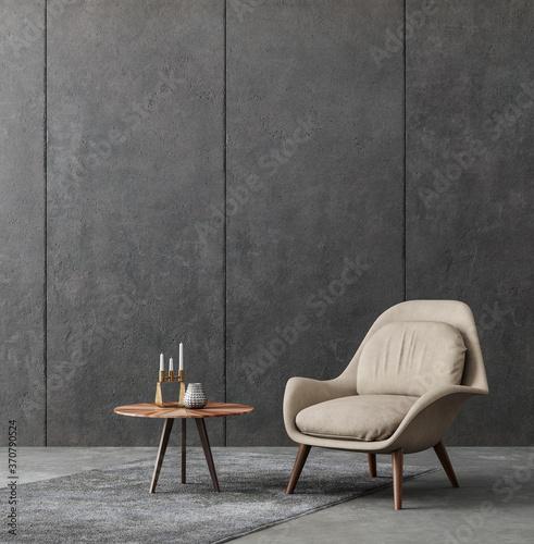 Fototapeta Living room interior in loft, industrial style, 3d render obraz