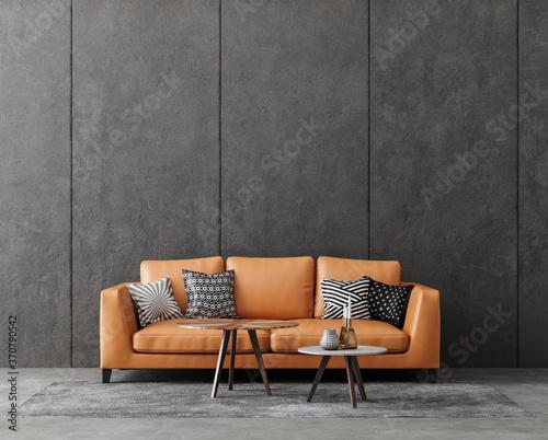 Valokuva Living room interior in loft, industrial style, 3d render