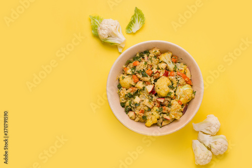Fresh cauliflower and quinoa salad. Copy space