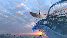 Brave Businesswoman Flies Through The Waves On A Boat