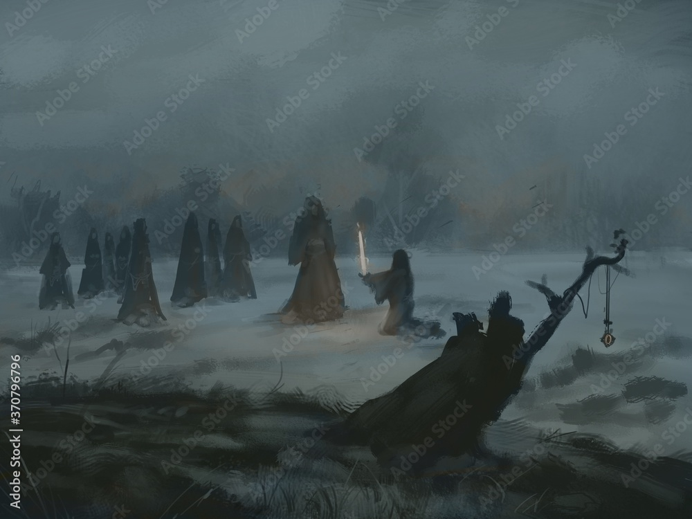 Digital painting of a witch cult ritual in a secluded field on a dark foggy night - digital fantasy illustration