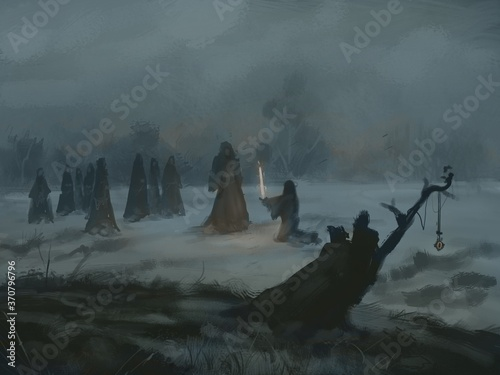 Fotografia, Obraz Digital painting of a witch cult ritual in a secluded field on a dark foggy nigh