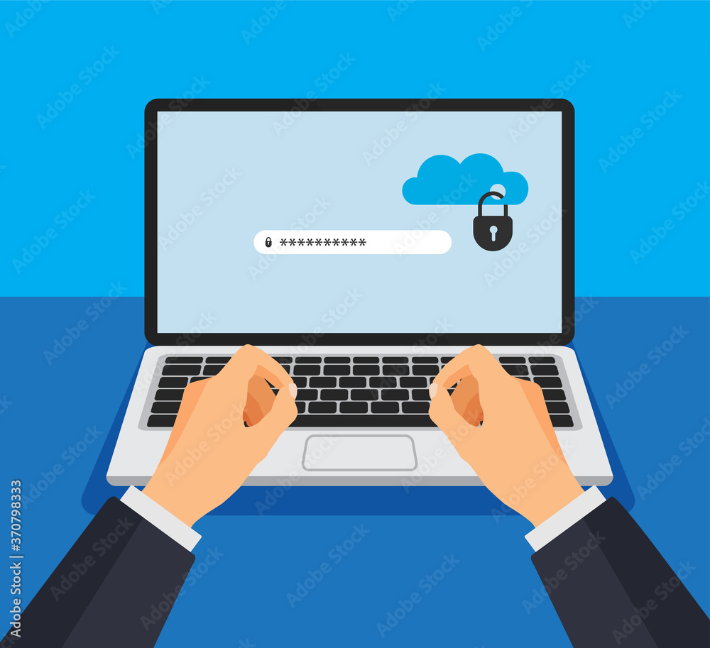 Fototapeta Open laptop with locked cloud storage on a screen. File protection. Hand enters password. Data security and privacy concept on computer display. Safe confidential information. Vector illustration.