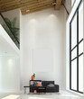 Leinwanddruck Bild - The double space interior design of modern luxury  cozy tropical living room and lounge and wall pattern background