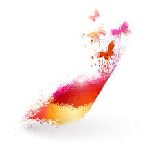 Swirl Element Of Splatter And Butterflies On White Background. Abstract Colorful Backdrop - Stock Vector