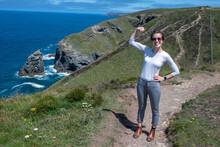 Young Woman Hike Walk Cornwall Coast UK Cornish Sea Holiday Landscape