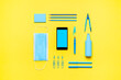 canvas print picture - School supplies, protective mask and hand sanitizer. Back to school new rules
