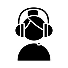 Woman With Headset Call Center Service Silhouette Style Icon