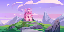 Pink Magic Castle, Princess Or Fairy Palace With Turrets On Mountain Top With Rocky Road Lead To Gates And Lilac Clouds In Sky. Fantasy Fortress, Medieval Architecture. Cartoon Vector Illustration