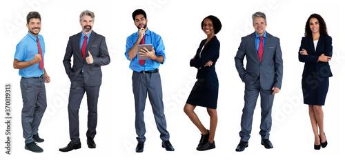 Valokuvatapetti Internationale Geschäftsleute in einer Reihe