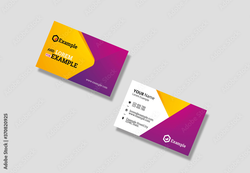 Fototapeta Travel and Tourism Business Card with Yellow and Magenta Accents