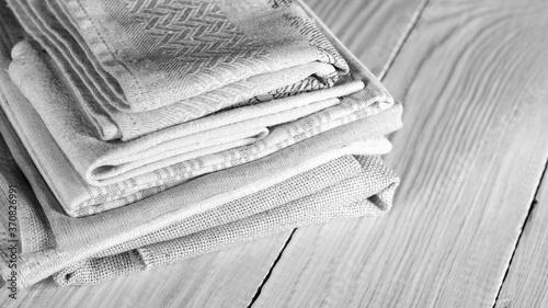 Fotografie, Tablou Stacked linen textiles