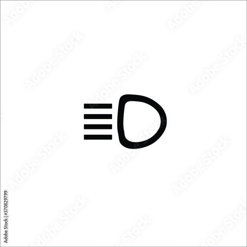 Fototapeta Main beam headlights vector icon. car service obraz na płótnie