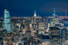 From Above Of Night New York C...
