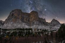 From Below Amazing Scenery Of Mountain Rocky Under Dark Sky With Milky Way