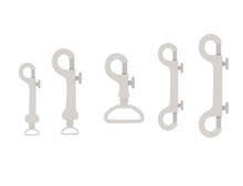 Big Set Of Metal Claw Clasps Alpine Climbing Equipment Flat Vector Illustration Isolated On White Background