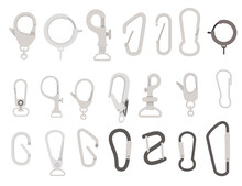 Big Set Of Metal Climbing Carabiners And Claw Clasps Alpine Climbing Equipment Flat Vector Illustration Isolated On White Background