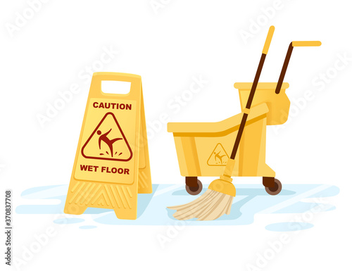 Fotografia Group of cleaning tools wet floor sign mop bucket cleaning supplies flat vector