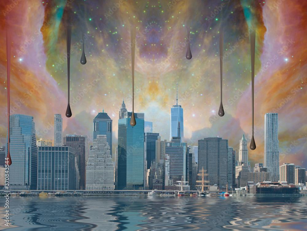 Fantasy New York City. world trade center freedom tower. 3D rendering
